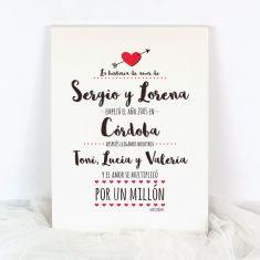 Lienzo San Valentín La historia de Amor Corazón flecha