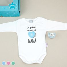 Cajita Divertida Body + Chupete Te quiero mucho Mamá Menta, Azul o Rosa