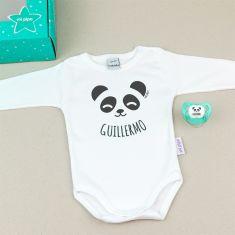 Cajita Divertida Body + Chupete Nombre + Panda
