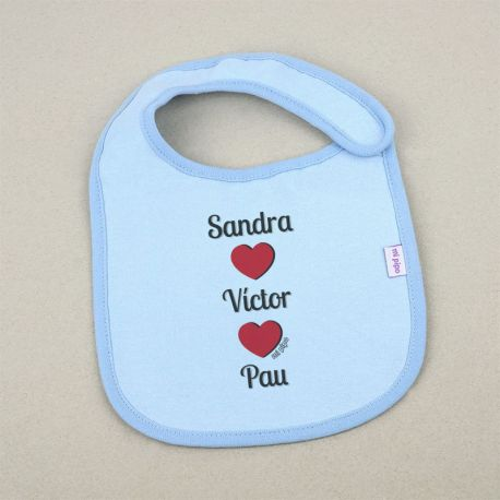 Funny Bib Dad Name + Mom Name + Baby Name +3M