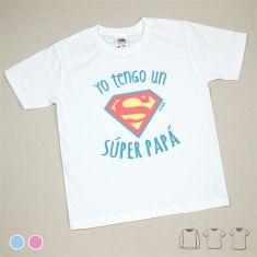 Camiseta o Sudadera Niño/a Yo tengo un Súper Papá Azul o Rosa