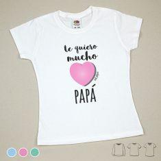 Camiseta o Sudadera Niño/a Te quiero mucho Papá Menta, Azul o Rosa