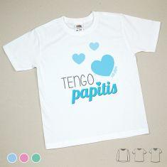 Camiseta o Sudadera Niño/a Tengo papitis Menta, Azul o Rosa