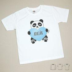 Camiseta o Sudadera Bebé y Niño/a Personalizada Panda Corazón Azul