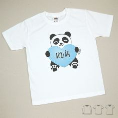 Camiseta o Sudadera Niño/a Personalizada Nombre + Oso Panda Corazón Azul