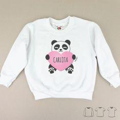 Camiseta o Sudadera Niño/a Personalizada Nombre + Oso Panda Corazón Rosa