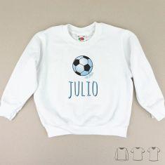 Camiseta o Sudadera Niño/a Nombre + Balón Azul