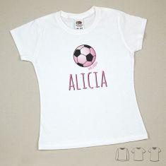 Camiseta o Sudadera Niño/a Nombre + Balón Rosa