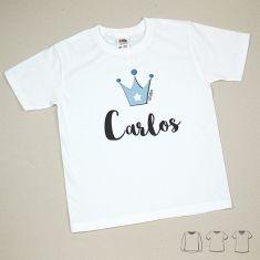 Camiseta o Sudadera Niño/a Nombre + Corona Azul