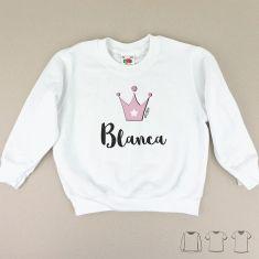 Camiseta o Sudadera Bebé y Niño/a Personalizada Corona Rosa
