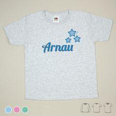 Camiseta o Sudadera Niño/a Personalizada Nombre + Estrellas Menta, Azul o Rosa