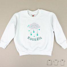 Camiseta o Sudadera Bebé y Niño/a Personalizada Nube Menta