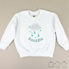 Camiseta o Sudadera Niño/a Nube Menta personalizada