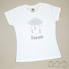 Camiseta o Sudadera Bebé y Niño/a Personalizada Nube Rosa