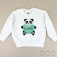 Camiseta o Sudadera Niño/a Panda corazón menta personalizada