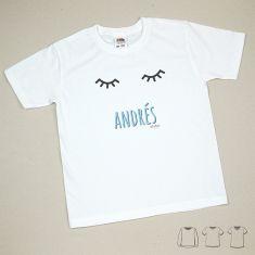 Camiseta o Sudadera Bebé y Niño/a Personalizada Pestañas Azul