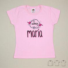 Camiseta o Sudadera Bebé y Niño/a Personalizada Súper Rosa