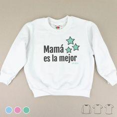 Camiseta o Sudadera Niño/a Mamá es el mejor Menta, Azul o Rosa