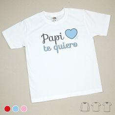 Camiseta o Sudadera Niño/a Papi Te Quiero Rojo, Azul o Rosa