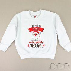 Camiseta o Sudadera Navideña Personalizada Papá Noel me he portado súper bien