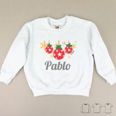 Camiseta o Sudadera Navideña personalizada bolas Navidad