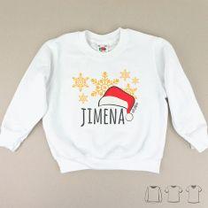Camiseta o Sudadera Niño/a Navideña personalizada gorro Papá Noel