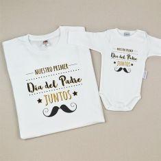 Pack Camiseta + Body Divertidos Nuestro primer día del Padre juntos Bigote