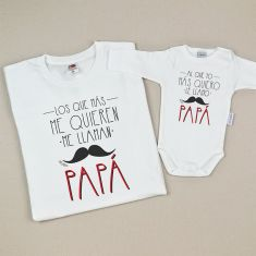 Pack Camiseta + Body Divertidos Los que más me quieren me llaman Papá/ Al que yo más quiero...