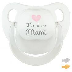 Chupete Baby Deco Blanco-Rosa Te quiero Mami