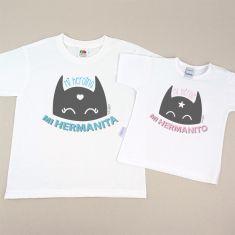 Pack 2 Camisetas Divertidas Niño/Niña y Bebé Mi Heroína mi Hermanita Azul / Mi Héroe mi Hermanito Rosa