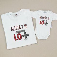 Pack Camiseta + Body Divertidos (Nombre hijo/a) y yo somos lo más/ Mi Papá y yo somos lo más