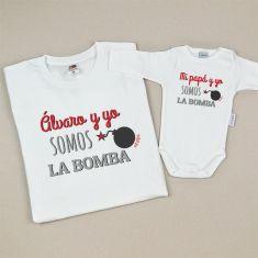 Pack Camiseta + Body Divertidos (Nombre hijo/a) y yo somos la bomba/ Mi Papá y yo somos la bomba