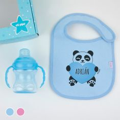 Cajita Yummy! Rosa o Azul Nombre + Panda Corazón