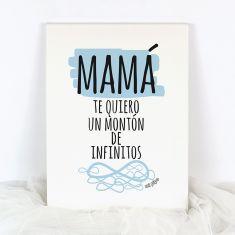 Lienzo Mamá te quiero un montón de infinitos azul