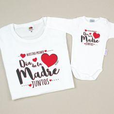 Pack 2 Camisetas Divertidas Mamá Nuestro primer día de la madre juntos corazón rojo