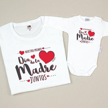 Pack 2 Prendas Mamá Nuestro primer día de la madre juntos corazón rojo
