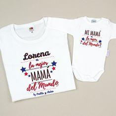 Pack 2 Camisetas Personalizadas La mejor Mamá del mundo by nombre/s azul niño