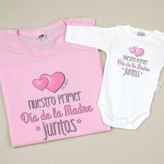 Pack Camiseta+Body Divertidos Nuestro primer día de la Madre juntas Rosa