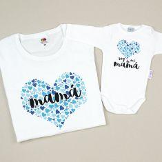 Pack 2 Camisetas Divertidas Mamá Soy de mi mamá azul