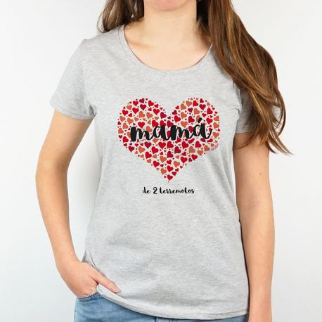 Camiseta o Sudadera Divertida Mamá (corazón de corazones) rojo personalizable