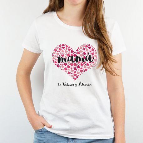 Camiseta o Sudadera Divertida Mamá (corazón de corazones) fucsia personalizable