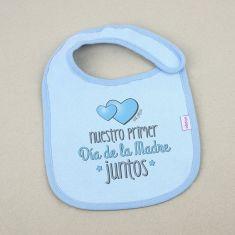 Babero Divertido Nuestro primer día de la Madre juntos azul