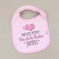 Babero Divertido Nuestro primer día de la Madre JUNTAS Rosa