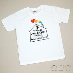 Camiseta Divertida Niña Arcoríris Yo me quedé en casa y al final todo salió bien