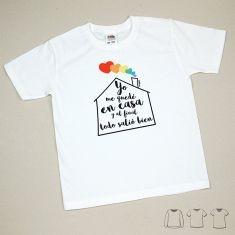 Camiseta o Sudadera Bebé y Niño/a Arcoríris Yo me quedé en casa y al final todo salió bien