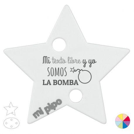 Broche Pinza Mi (texto libre) y yo somos La Bomba