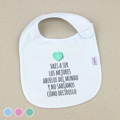 Babero Personalizado Extra libre Corazón Menta, Azul o Rosa +3m