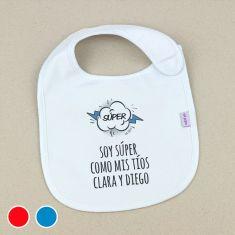 Babero Personalizado Extra libre Súper Azul o Rojo +3m