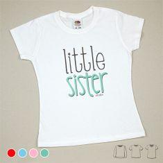 Camiseta o Sudadera Niño/a Little Sister Menta, azul, rojo o rosa
