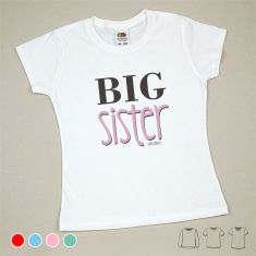 Camiseta o Sudadera Niño/a Big Sister Menta, azul, rojo o rosa